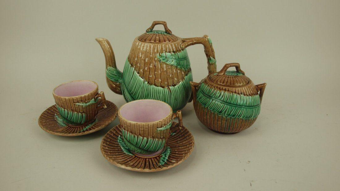Majolica Wardle bamboo and fern teapot, sugar, and 2