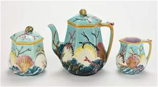 A Rare Wedgwood Majolica 'Ocean' Three Piece Tea set