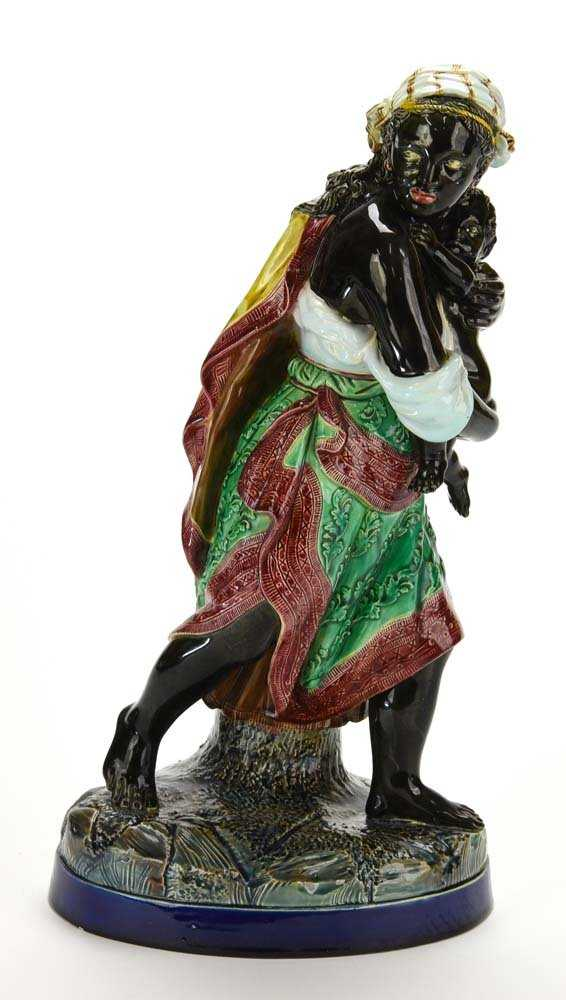A Very Rare Holdcroft Majolica Figure Of A Hurried