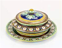 A Wedgwood Majolica 'Stanley' Pattern Butterdish Stand