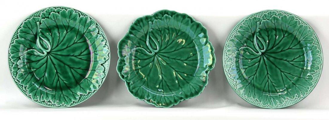 Majolica lot of 9 dark green plates, marked Wedgwood,