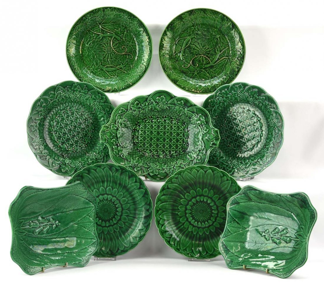 Majolica lot of 9 assorted dark green plates and tray,