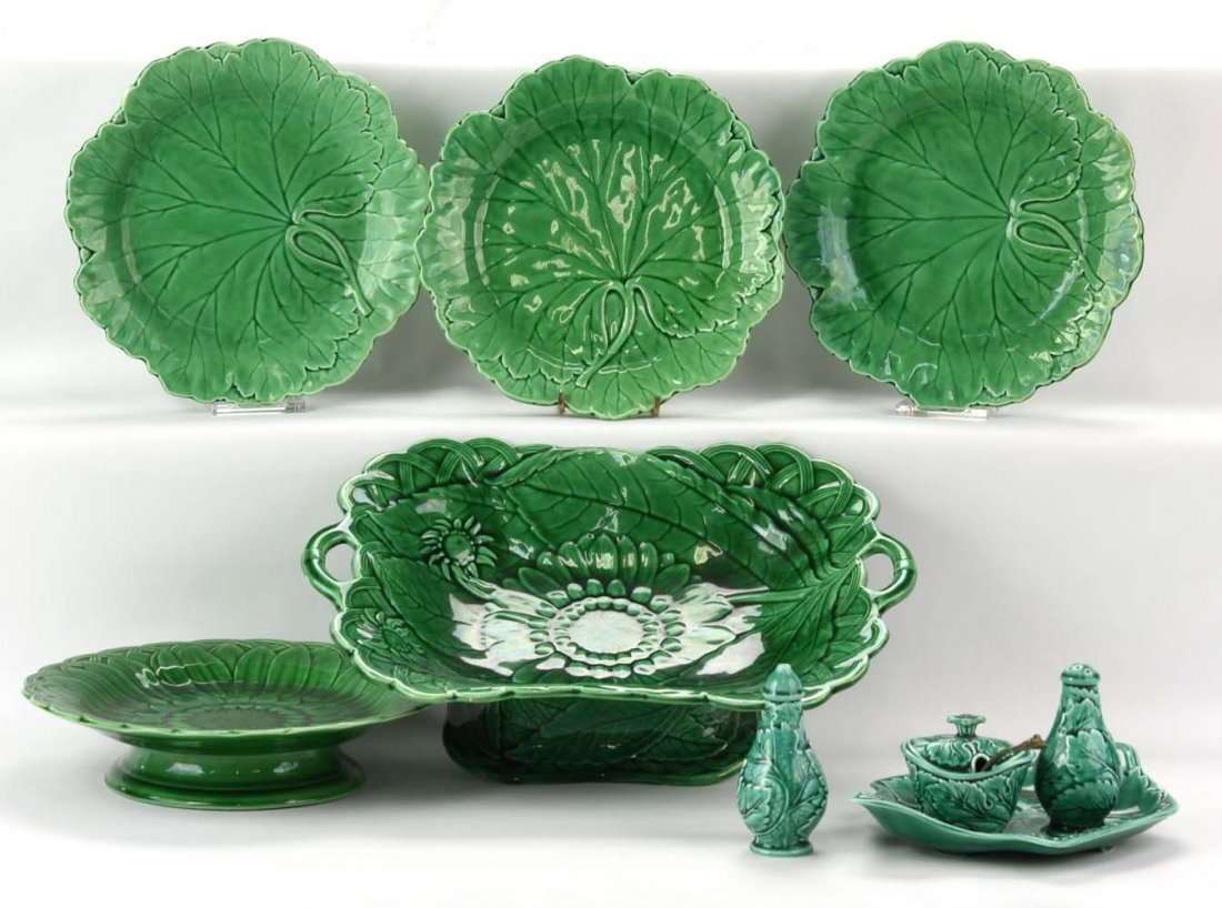 Majolica dark green lot of plates, compote and