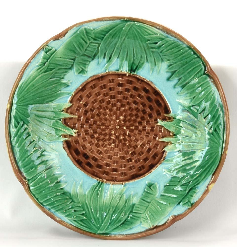 "Majolica bamboo and wicker plate, 9 1/4"""