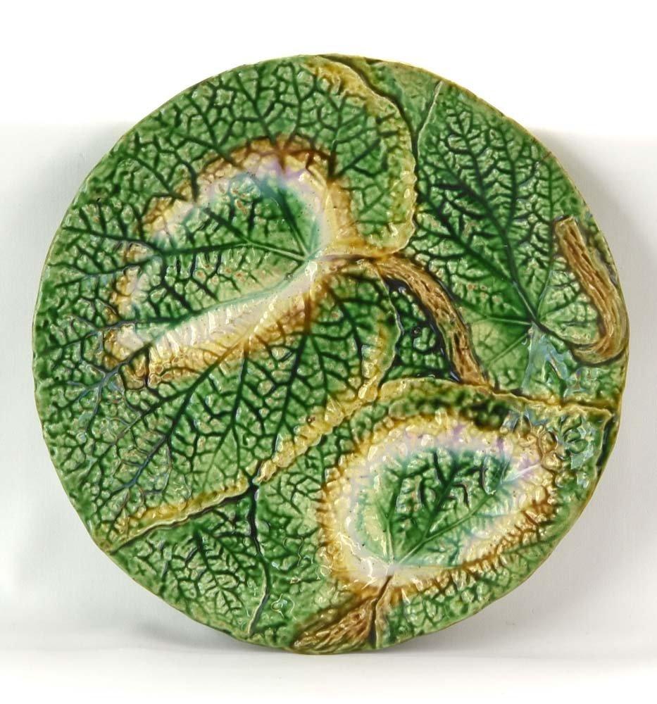Majolica begonia leaf plate, 8 1/4
