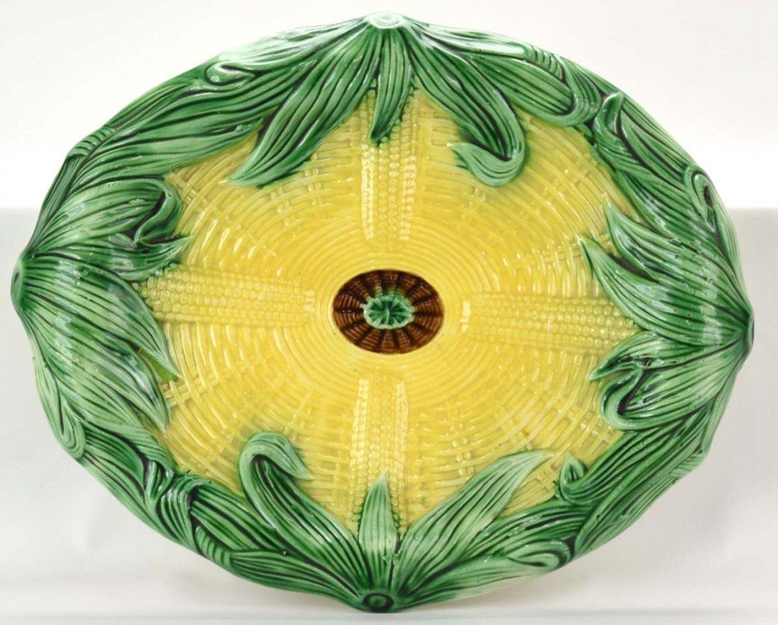 "Majolica corn platter, 14"""