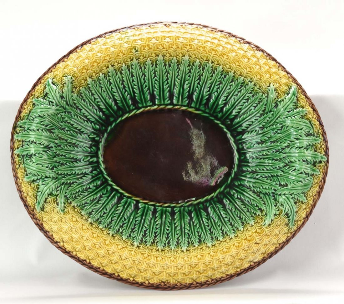 """Majolica pineapple plater with brown center, 12 1/2"""""""