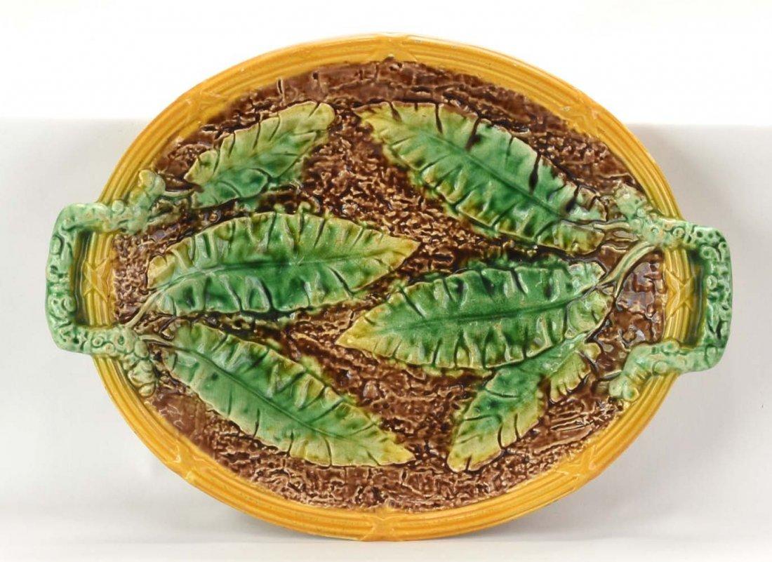 """Majolica banana leaf platter, 12 1/2"""""""