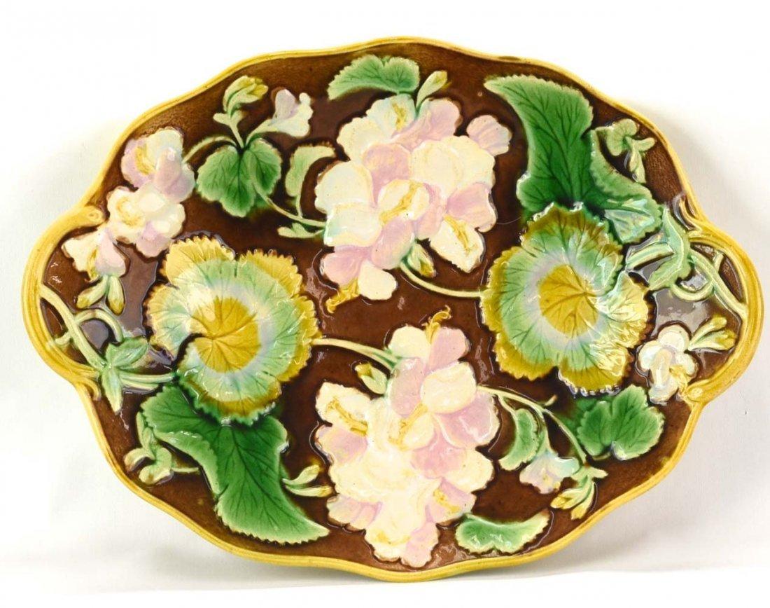 "Majolica geranium platter, 11 1/2"""