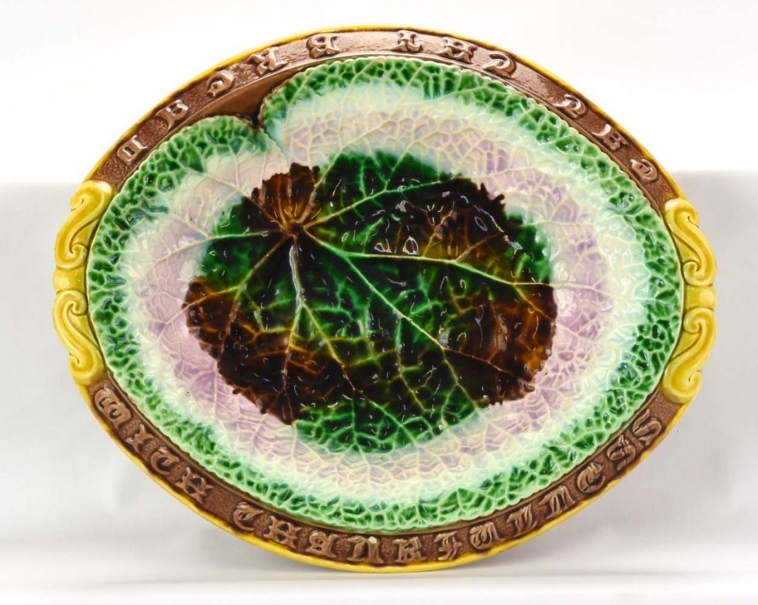 """Majolica begonia leaf platter with motto, 13"""""""
