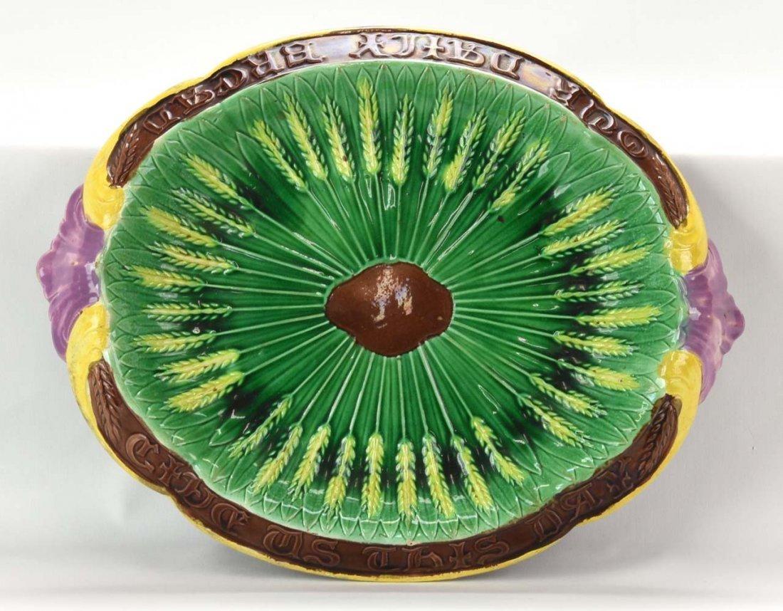 """Majolica wheat bread platter with motto, 12 1/2"""""""