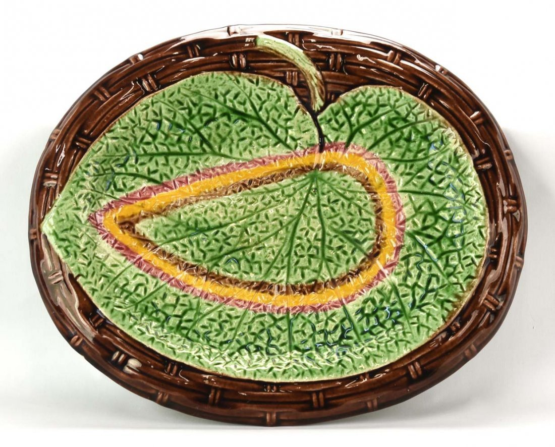 "Majolica begonia leaf & wicker platter, 13"", rim chip"