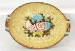 Fielding majolica shells and fishnet platter, 13""