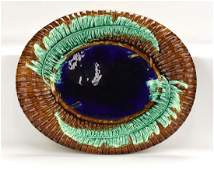 Majolica Wardle bamboo and fern platter with cobalt
