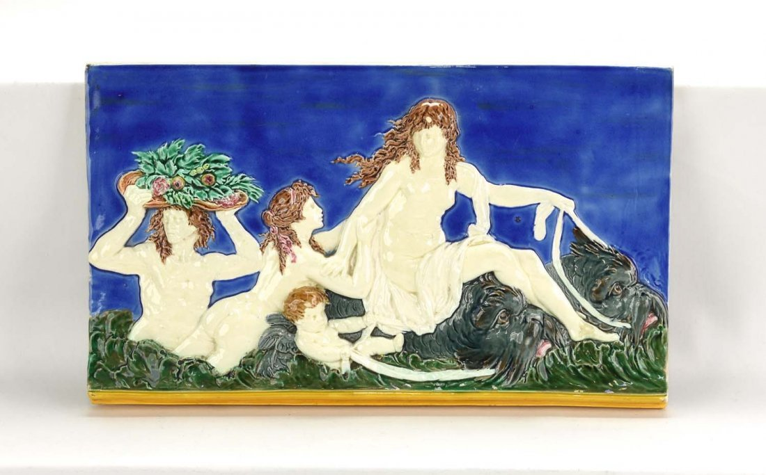 Wedgwood majolica tile with lady on dolphins, after
