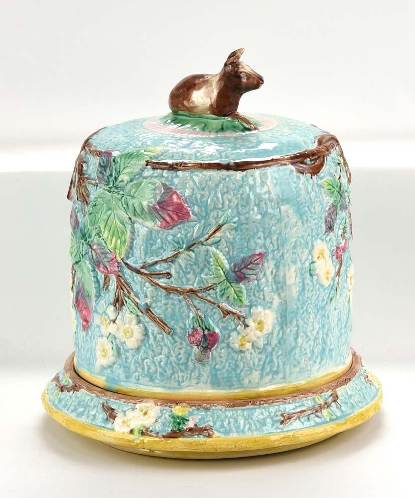 Majolica turquoise cheese keeper with cow finial and