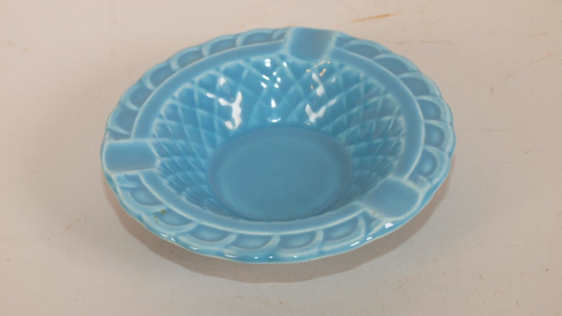 Fiesta Harlequin basket weave ashtray, turquoise