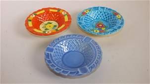 Fiesta Harlequin basket weave ashtray, mauve blue