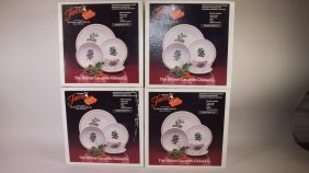 """Fiesta Post 86 White """"holiday"""" Lot Of 4-5 Piece Place"""