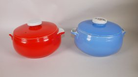 Hall China Co Red & Blue Covered Casseroles