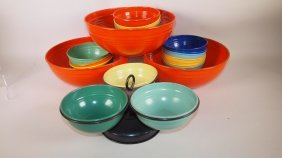 Fiesta Go-along Lot Of 3 Popcorn Bowl Sets And 3 Part