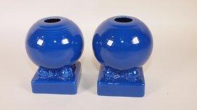 Fiesta Pair Cobalt Bulb Candle Holders