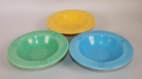 Fiesta Ashtray Group: Turquoise, Green, & Yellow