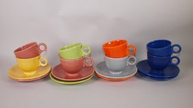 Fiesta Cup & Saucer Group: Lot Of 8 Mixed Colors