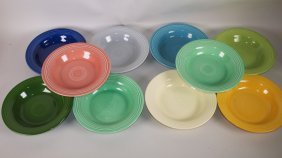 Fiesta Deep Plate Group: Lot Of 10 Mixed Colors