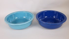 "Fiesta 9 1/2"" Nappy Bowl Group: Turquoise & Cobalt"