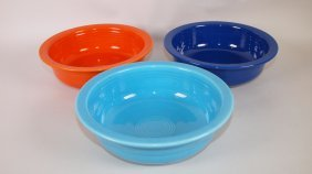 "Fiesta 8 1/2"" Nappy Bowl Group: Red, Cobalt, Turquoise"