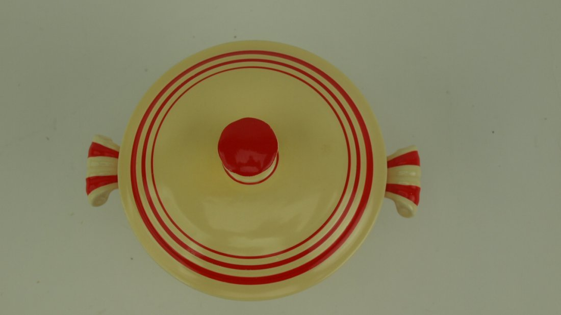 Fiesta RARE ivory red strip onion soup with lid, - 2