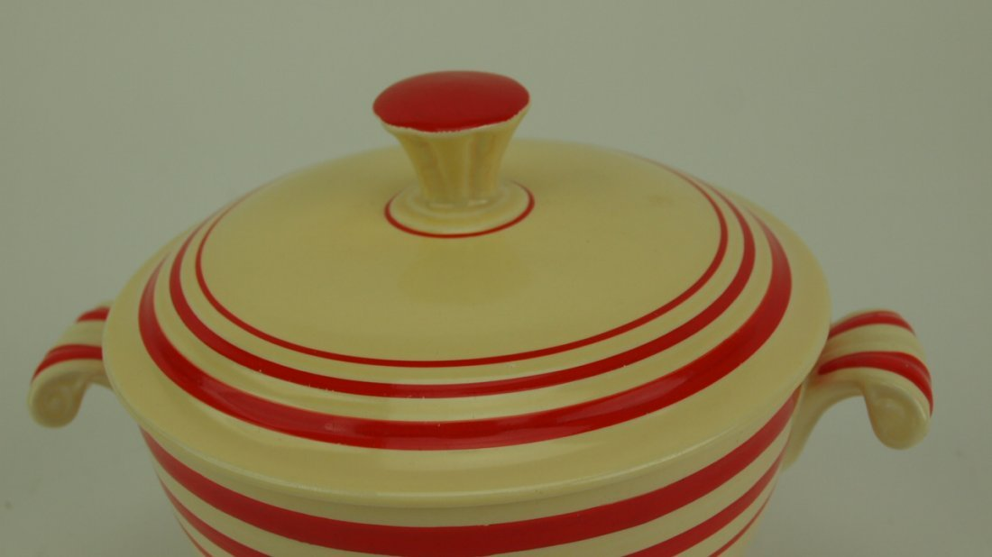 Fiesta RARE ivory red strip onion soup with lid, - 3