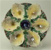 Minton RARE Majolica fish oyster plate 6 wells 11