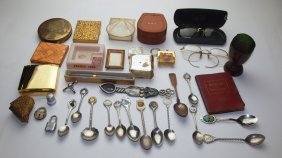 Lot Of Compacts, Souvenir Spoons, Eyeglasses, And