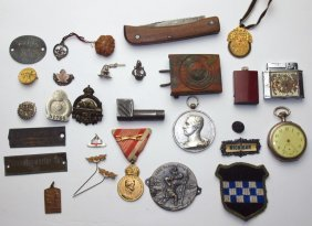 Lot Of Pins, Military Medals, Canada Mounty Pendant,