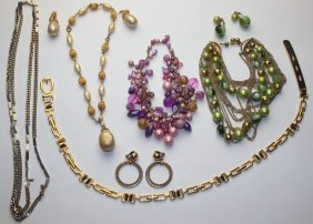 Lot Of 4 Necklaces, Earrings, & Belt, Some Monet