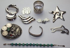 Sterling Silver Lot Of Brooches, Sterling Napkin Ring,