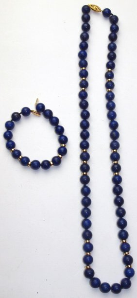 Lapis Large Stone Necklace With Natching Bracelet With
