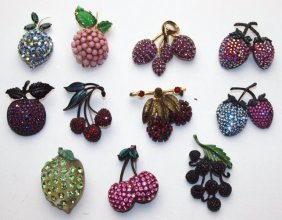 Lot Of 11 Fruit Brooch Pins, Weiss, Warner, & Others