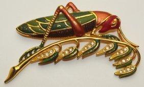 Enamel & Rhinestone Grasshopper Brooch