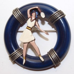 French Bakelite Pin With Lady Tennis Player