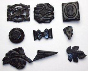 Bakelite Lot Of 9 Black Brooch Pins