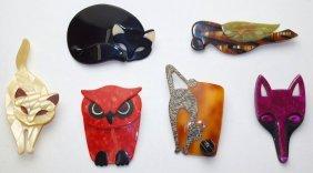 Lot Of 6 Lea Stein Paris Bakelite Brooch Pins