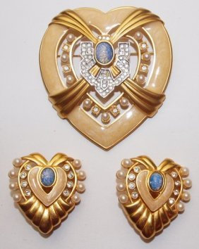 Elizabeth Taylor Brooch And Earring Set