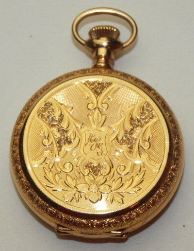 Elgin 14K yellow gold hunter case pocket watch, 15j,