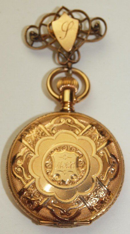 Elgin 14K yellow gold hunters case pocket watch with