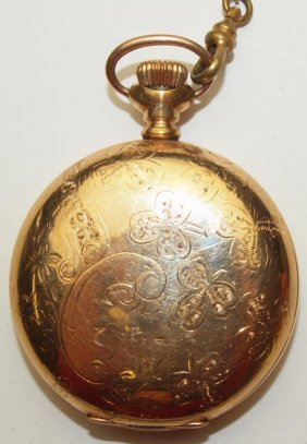 Hampden 18s, Hunters Case Pocket Watch With Chain