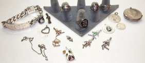 Lot Of Sterling Silver Id Bracelet, Rings, & Charms
