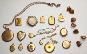 Lot Of 15 Locket Pendants And 7 Locket Buttons
